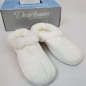 Dearfoams White Slippers Memory Foam Size 9 NWT
